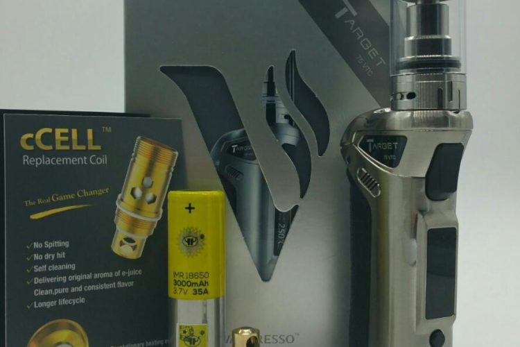 THE VAPORESSO TARGET 75 VTC kit consists of a TARGET 75 VTC MOD, a Target CELL sub-ohm tank with a pre-installed ceramic coil head, a Ni200 ceramic coil head for temperature control vaping, a USB charging cable for the mod and a user manual.