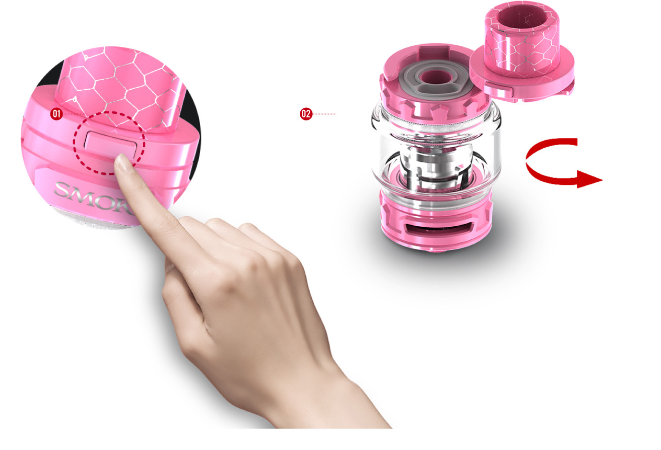 PATENTED LOCKING MECHANISM  TFV12 Baby Prince has a patented locking mechanism on its top cap, with simply press that little button you can open the cap.  Besides, this design can effectively avoid accidently opening of top cap and leaking of e-juice.